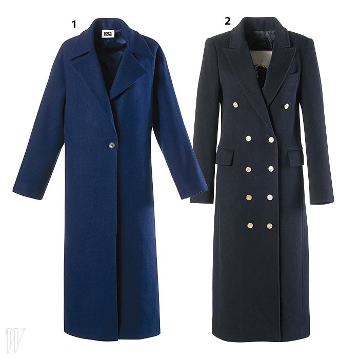 1. 간결한 디자인이 특징인 진한 파란색 코트는 그레이 양 제품. 47만7천원.2. 탄탄한 재단이 돋보이는 검정 밀리터리 맥시 코트는 곽현주 제품. 1백만원대.