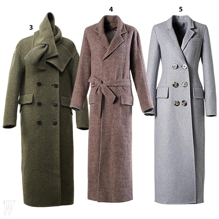 3. 칼라를 머플러로 변형시킨 독특한 코트는 럭키슈에뜨 제품. 84만8천원.4. 목욕 가운을 형상화한 갈색 맥시 코트는 보브 제품. 가격 미정.5. 잘록한 허리, 큼직한 단추가 특징인 회색 맥시 코트는 버버리 프로섬 제품. 5백80만원대.