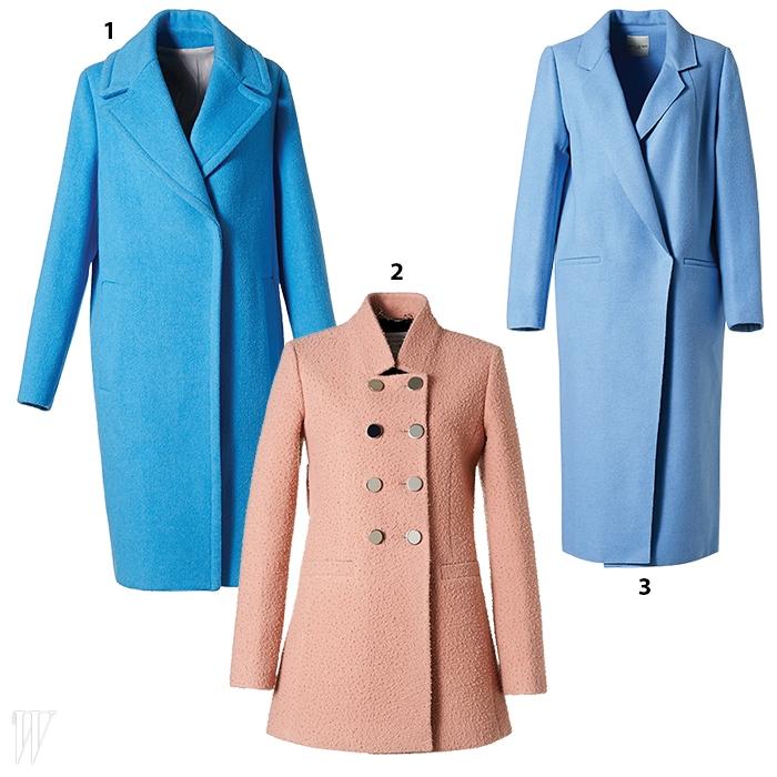 1. 간결한 디자인의 파란색 미디 코트는세컨플로어 제품. 57만9천원.2. 낡은 듯한 매력의 카센티노 원단을 사용한살구색 피코트는 구찌 제품. 2백77만원.3. 경쾌한 색감의 압축 모직 코트는 이치 아더by 톰그레이하운드 제품. 96만5천원.