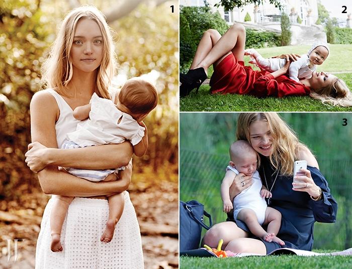 1. 컨트리로드 캠페인에 아이와 함께 등장한 젬마 워드.2. 마리오 테스티노의 카메라 앞에 선 나타샤 폴리와 사랑스러운 그녀의 딸 알렉산드라.3. 네 번째 아기 막심과 함께 공원에서 즐거운 시간을 보내는 나탈리아 보디아노바.