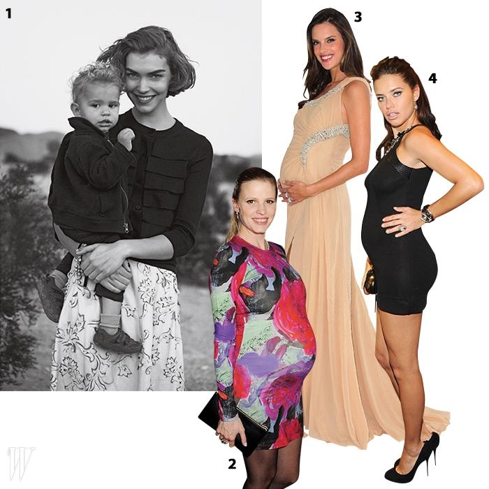 1. 피터 린드버그의 프레임에 포착된 애리조나 뮤즈와 그녀의 아들 니코.2. 아름다운 D라인을 드러낸 라라 스톤.3. 여신 같은 모습을 발산하는 임산부 알레산드라 암브로지우.4. 임신해도 여전히 매혹적인 빅토리아 시크릿 모델 아드리아나 리마.