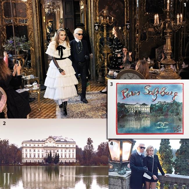 1. 패션쇼 피날레에 등장한 카라 델레바인과 칼 라거펠트.2. 평온함이전해지는 레오폴트스크론 성의 전경.3. 칼 라거펠트가 그린 공방컬렉션 초대장.4. 앨리스 데럴과 함께 포즈를 취한 라거펠트.