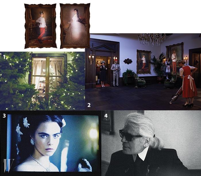 1. 크리스마스 무드가 물씬 풍긴 영화 상영회장.2. 미테르질을 재현한 영화 속 장면.3. 카리스마 넘치는 카라의 모습.4. 촬영 중에 포착한 칼 라거펠트.