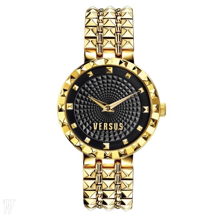 VERSUS BY GALLERY O'CLOCK 스터드 형태의 골드 스트랩이 특징인 손목시계. 31만5천원.