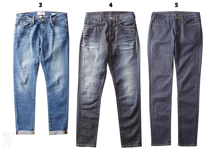 3. 발목이 드러나도록 살짝 접어 입으면 더 멋진 팬츠는프레임 by 블루핏 제품. 35만원.4. 절묘한 커팅으로 하체 라인이 가늘어 보이는 팬츠는 구찌 제품.5 백만원대.5. 입으며 길들이는 재미가 있는 인디고 데님 팬츠는꽁뜨와 데 꼬또니에 제품. 30만원대.