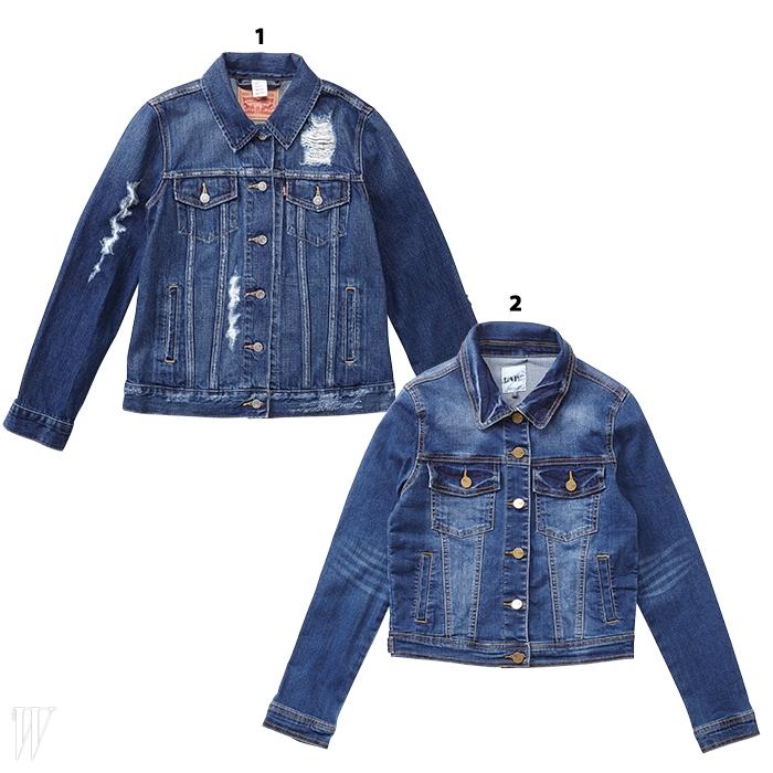 1. 기본 디자인에 해진 디테일로포인트를 준 재킷은리바이스 제품. 12만9천원.2. 몸에 피트되는 실루엣이라코트나 바이커 재킷 안에겹쳐 입기 좋은 재킷은랩 제품. 6만9천원.