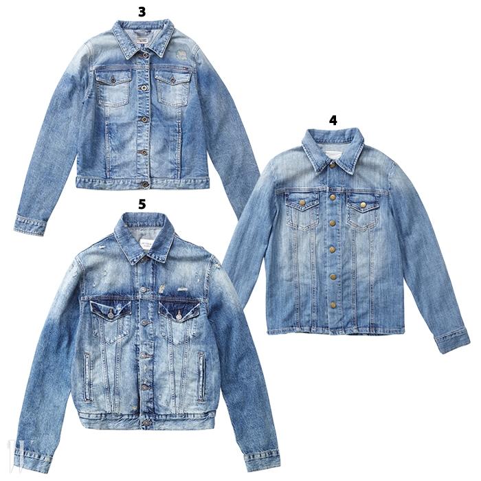 3. 짧은 길이라 하이웨이스트하의와 잘 어울리는 재킷은 타미힐피거 데님 제품. 25만5천원.4. 셔츠처럼 마감된 밑단이 특징인재킷은 커런트 엘리엇 by블루핏 제품. 53만원.5. 빈티지 아이템 같은 느낌을주는 재킷은 데님앤서플라이랄프로렌 제품. 22만8천원.