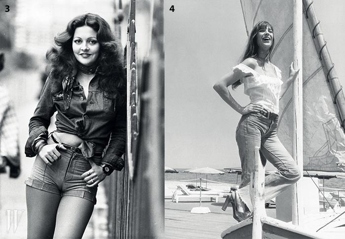 3. 70년대 젊음의 상징인 데님 셔츠와 핫 팬츠, 목에 멘 스카프가 인상적인 룩.4. 순백의 톱, 와이드한 데님 팬츠와 버클 벨트, 플랫폼 슬링백 슈즈 등이 어우러져 순수한 관능미를 풍기는 제인 버킨.