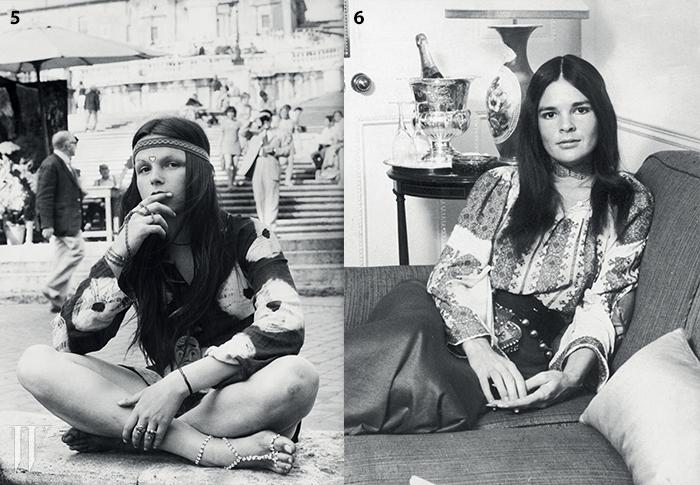 5. 날염 프린트 룩을 입은 1970년대 히피.6. 알리 맥그로가 선보인70년대 룩의 전형.