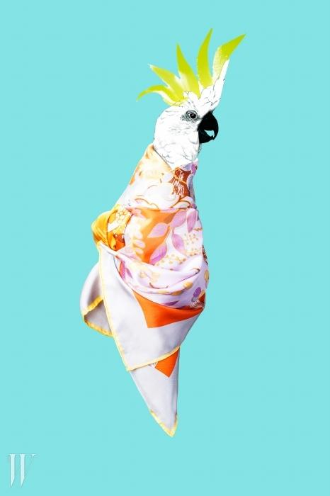 나뭇잎과 꽃 등 자연의 풍경을 담은스카프는 마리아 꾸르키 제품. 12만8천원.
