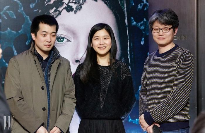 시사회장을 찾은<슬픈 씬>의 우문기 감독,<그게 아니고>의 강진아 감독,<내 노래를 들어줘>의신연식 감독.