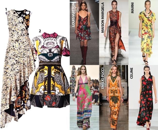 1. 언밸런스한 헴라인이 독특한 꽃무늬 드레스는 셀린 제품. 가격 미정.2. 대담한 꽃무늬 패턴이 인상적인 드레스는 발렌티노 제품. 가격 미정.