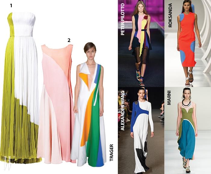 1. 연두색과 흰색의 조화가 청량감을 더하는 시폰 드레스는 제이 멘델 제품. 가격 미정.2. 톤온톤의 팔레트가 매력적인 슬리브리스 드레스는 에스카다 제품. 가격 미정.