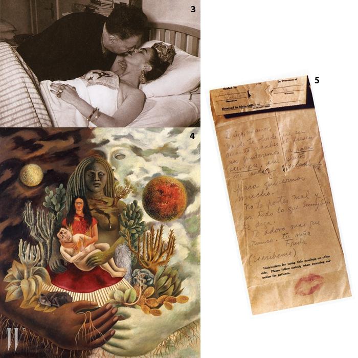 3. 1950년, 프리다와 디에고.4. 프리다 칼로의 1949년 작품인 . 결코 만날 수 없는운명인 달과 해로 디에고와 자신을 표현했다.5. 1940년 이전, 프리다가 디에고에게 쓴 러브 노트.