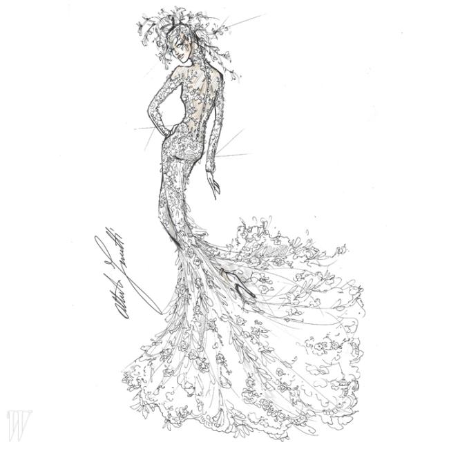보디라인이 아슬아슬하게 드러나는섬세한 레이스 드레스는 알베르타 페레티의 작품.