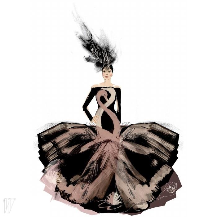 우아한 백조가 엉켜 있는 모습을 스케치한H&M의 수석 디자이너 앤 소피 요핸슨의 작품.