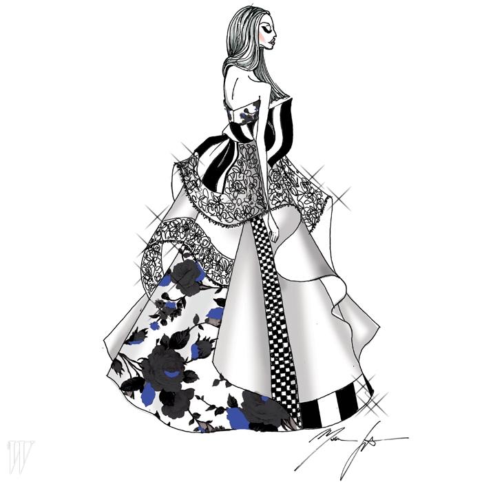 MSGM의 마시모 조르제티가 그린드라마틱한 플라워 패치워크 드레스.