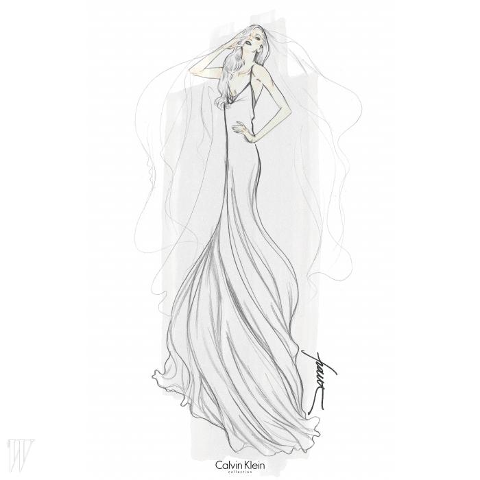 소용돌이치는 머메이드 드레스를 상상한캘빈 클라인의 프랜시스코 코스타의 스케치.