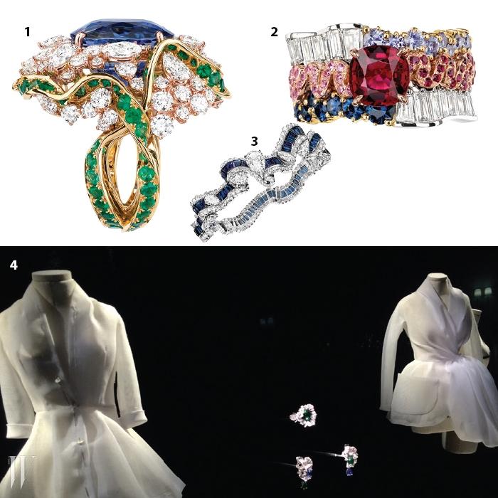 1. 유려한 실루엣이 돋보이는 반지. 2. 카스텔란 특유의 매혹적인 컬러가 어우러졌다. 3. 리본에서 영감을 받은 스와 디올 컬렉션. 4. 아카이브를 수놓은 전설적인 룩과 함께 진열된 주얼리.