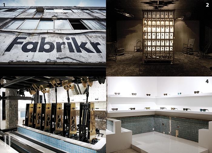 1 패브리커의 인상적안 작업실 입구.2 홍대 젠틀몬스터 쇼룸.3,4 목욕탕을 개조해서 만든젠틀몬스터 계동 팝업스토어.