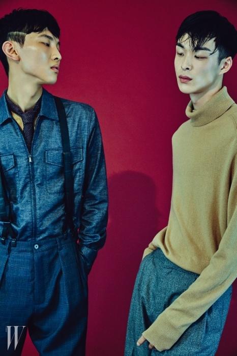 전준영이 입은지퍼 장식 데님 셔츠와 격자무늬울 팬츠, 검은색 서스펜더,목에 맨 타이는 모두보테가 베네타 제품.박경진이 입은 부드러운 니트소재의 베이지색 터틀넥은 H&M,회색 와이드 팬츠는 코스 제품.