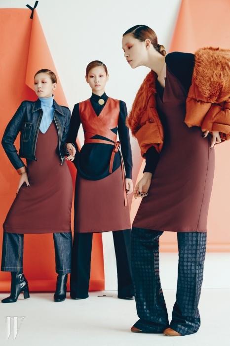 왼쪽부터,이호정이 입은 가죽 트리밍 데님 재킷과 안에 입은 하늘색 터틀넥 톱은 루이 비통 제품, 가격 미정. 갈색 슬리브리스 원피스는 H&M 스튜디오 제품, 6만 9천원. 드레스 안에 입은 크롭트 데님 팬츠는 루이 비통 제품, 가격 미정.정호연이 입은 금속 버클 장식 남색 블라우스는 셀린 제품, 가격 미정. 가죽 소재의 베스트는 셀린 제품, 가격 미정. 셔츠 안에 입어 스커트처럼 연출한 갈색 드레스는 H&M 스튜디오 제품, 6만9천원. 드레스 안에 입은 시가렛 팬츠는 바네사 부르노 제품, 가격 미정.진정선이 입은 검정 카디건은 아페쎄 제품, 37만8천원. 카디건 위에 입은 갈색 드레스는 H&M 스튜디오 제품, 6만 9천원. 풍성한 여우털이 부착된 크롭트 패딩 점퍼는 펜디 제품, 4백85만원. 도트 무늬의 인디고 데님 팬츠는 보테가 베네타 제품, 1백만원대.