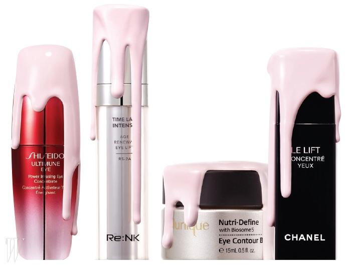 1 Shiseido 얼티뮨 파워 인퓨징아이 컨센트레이트사막의 뜨거운 열과 자외선을 견디는 미생물의조합인 엑토인과 보습 효과가 탁월한 흰자작나무추출물이 배합되어 눈가 수분을 꽉 잡아주고,탄탄함을 유지해준다. 15ml, 9만5천원.2 Re:NK 타임 랩 인텐스에이지 리뉴얼 아이 리프트눈 밑과 눈가는 기본이고 눈꺼풀의늘어짐까지 예방해준다. 15ml, 12만원.3 Jurlique 뉴트리-디파인 아이 컨투어 밤서양고추냉이, 뽕나무 뿌리, 로즈메리, 페퍼민트등의 천연 성분에 글리코겐을 더해눈가에 보습과 영양을 공급한다.눈가 피부가 자글거리기 시작했다면효과 만점일 듯. 15ml, 10만4천원.4 Chanel 르 리프트 인스턴트 스무딩 아이 세럼에듈리스 식물 뿌리에서 추출한 성분이 눈가의마이크로 RNA의 스위치를 억제해 탄력을더하고 주름을 완화시켜준다. 5ml, 13만9천원.