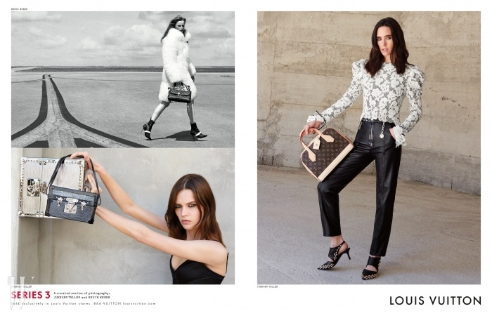 새로운 루이 비통 F/W 광고캠페인의 주인공이 된 제니퍼 코넬리.루이 비통의 새로운 뮤즈로 지목된배우 알리시아 비칸데르 등과 함께포토그래퍼 브루스 웨버와 유르겐텔러의 카메라 앞에 섰다.