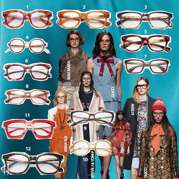1. 피부 톤이 하얀 사람에게 잘어울리는 밝은 갈색 프레임안경은 스테판 크리스티안 제품.15만원.2. 달콤한 캐러멜 색상의 안경은알로 제품. 15만9천원.3. 프레임의 위아래를 세련된색으로 조합한 안경은 폴 스미스 by룩소티카 제품. 40만원대.4. 레트로풍 갈색 프레임 안경은어쉬 by 시원 아이웨어 제품.50만원대.5. 모범생을 연상시키는 정직한프레임의 안경은 알로 제품.15만9천원.6. 프레임 양쪽 위의 금속 장식이시선을 끄는 안경은 스테판크리스티안 제품. 18만5천원.7.지적인 느낌을 주는 안경은 프라다by 룩소티카 제품. 40만원대.8. 기본적인 형태의 밝은 갈색 프레임안경은 올리버 피플스by 룩소티카 제품. 40만원대.9. 양쪽 끝이 살짝 올라간 사각 프레임안경은 불가리 제품. 가격 미정.10. 동그란 프레임의 밝은 황색빛안경은 프로젝트 프로덕트 제품.26만원.11. 강렬한 인상을 남기는 붉은색프레임 안경은 트리플 포인트 byBCD 코리아 제품. 15만원.12. 진한 녹색 프레임 안경은 트리티제품. 14만5천원.