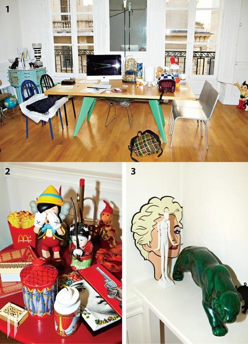 1. 다리 색깔을 바꾼프루베 테이블.2 프렌치프라이 라디오와에르메스 재떨이를 포함한다양한 소품들.3. 디자이너 야즈부키가만든 마돈나의일러스트레이션과 조각상.