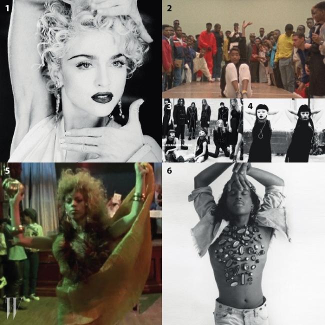 1 전 세계적으로 보그 댄스를 알린 마돈나.2, 5 뉴욕 할렘의 보깅 역사를 밀착취재한 다큐멘터리 <파리는 불타고 있다>.3, 4 절도 있는 보깅으로인기를 끌고 있는 댄스 듀오아야밤비가 알렉산더왕 2015 F/W캠페인에 등장한 모습.6 에등장한 전설적 보그 댄서 윌리 닌자,그리고 책의 표지.