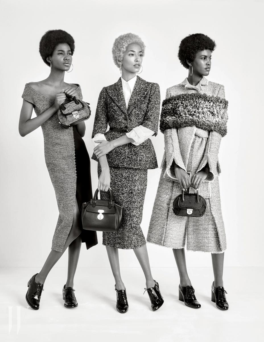 왼쪽부터 | 타미 윌리엄스가 입은 오프숄더 드레스는 발렌시아가, 체크무늬 미니 백은 살바토레 페레가모, 레이스업 슈즈는 처치스 제품. 아나이스 말리가 입은 클래식한 트위드 재킷과 스커트, 흰 셔츠, 벨트, 레이스업 슈즈는 모두 마이클 코어스, 잠금 장식이 돋보이는 백은 조르지오 아르마니 제품. 아밀라 이스테방이 입은 소매 끝부분의 독특한 커팅이 특징인 재킷, 큐롯 팬츠, 몸을 감싸는 양털 어깨 장식은 모두 프로엔자 스쿨러, 앙증맞은 미니 백은 살바토레 페레가모, 레이스업 슈즈는 마크 제이콥스 제품.