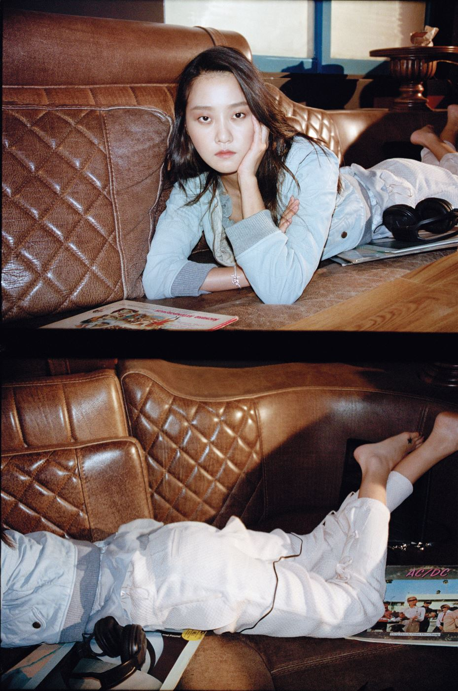 하늘색 가죽 블루종과 프릴 장식 시폰 톱, 팬츠, 검정 페이(Faye) 숄더백은 모두 Chloe 제품.