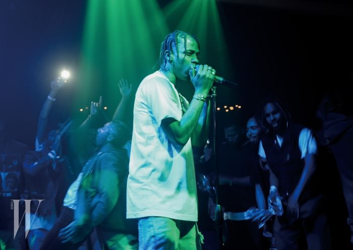 LOS ANGELES, CA - AUGUST 20:  Travis Scott performs at the Hennessy V.S Ryan McGinness limited edition bottle launch event at Sayer's on August 20, 2015 in Los Angeles, California.  (Photo by Noel Vasquez/Getty Images for Hennessy V.S)