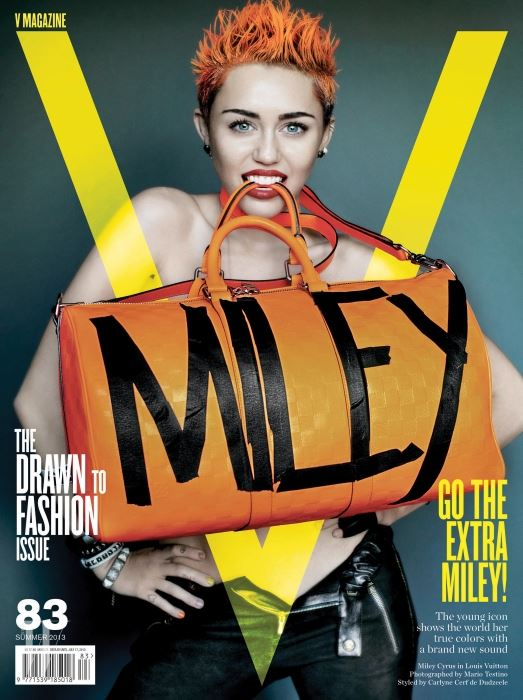 마일리 사이러스와 함께한 펑키한 2013년 서머 에디션의 V 매거진 커버 작업. 사진가는 그녀가 최고의 파트너로 꼽은 스티븐 마이젤(Steven Meisel).