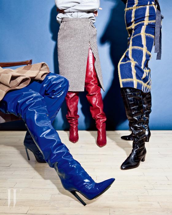 왼쪽부터 l 푸른색 에나멜 사이하이 부츠는 발렌시아가, 붉은색 가죽 부츠는 베트멍, 검은색 악어가죽 부츠는 알투자라.