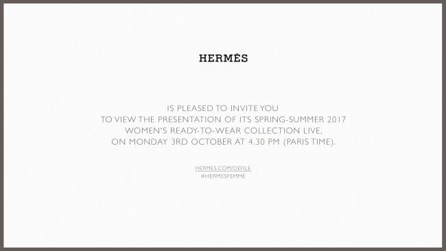 [에르메스]2017 봄-여름 여성복 컬렉션_라이브스트리밍_티저 초대장