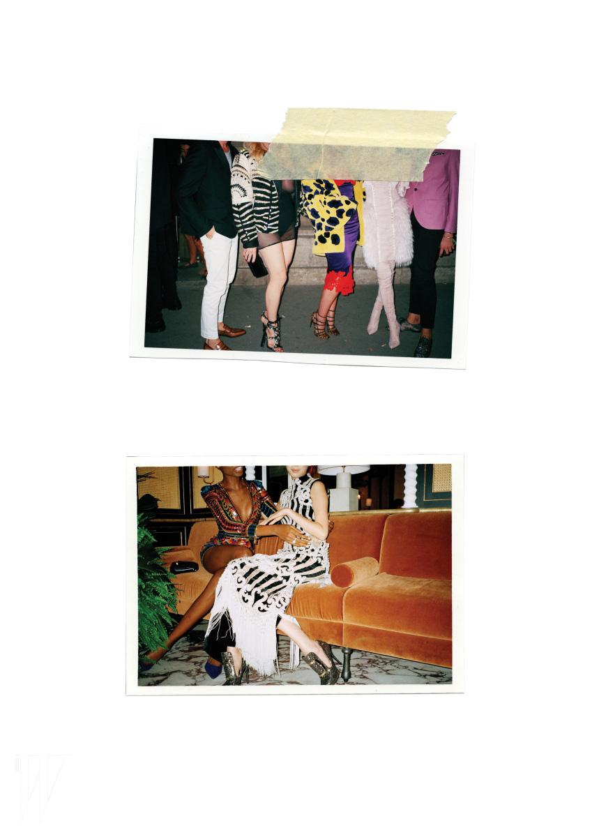 아이린이 입은 코르셋 디자인이 가미된 퍼 스커트와 스웨이드 소재의 핑크색 사이하이 부츠, 마리아 보르게스가 입은 화려한 스팽글 드레스, 아밀리나 에스테바오가 입은 황금빛 자수 드레스는 모두 Balmain 제품.