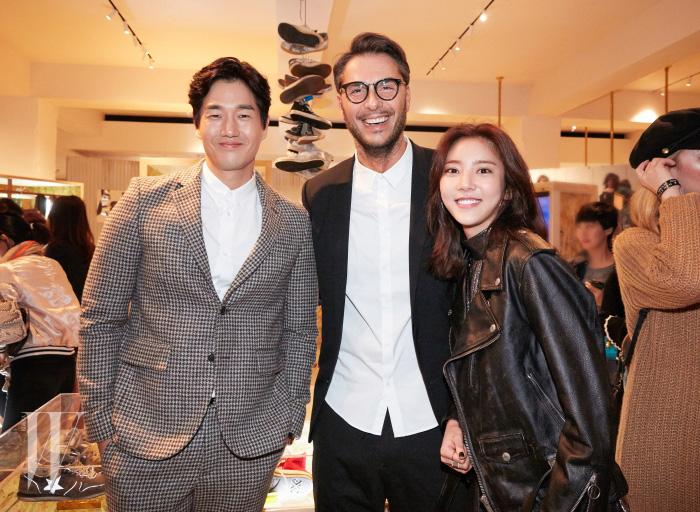 배우 유지태와 골든구스디럭스 브랜드의 커머셜 디렉터, 실비오 캄파라(Silvio Campara) 그리고 배우 손담비.