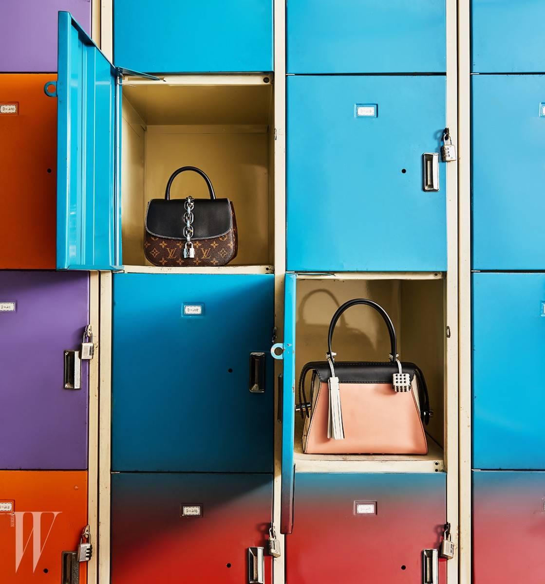 모노그램 패턴의 체인 버클 장식 미니 백은 루이 비통 제품. 2백만원대.  베이비 핑크와 하양, 검정의 조합이 근사한 토트백은 토즈 제품. 2백40만원대.