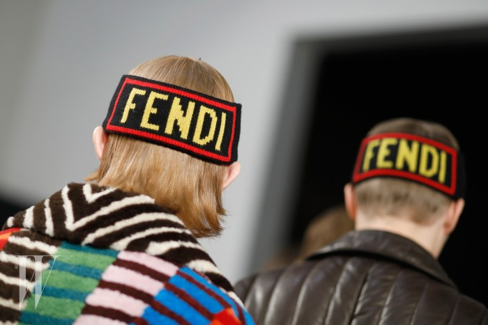 MILAN, ITALY - JANUARY 16:  Models, back detail, seen backstage ahead of the Fendi show during Milan Men's Fashion Week Fall/Winter 2017/18 on January 16, 2017 in Milan, Italy.  (Photo by Tristan Fewings/Getty Images)