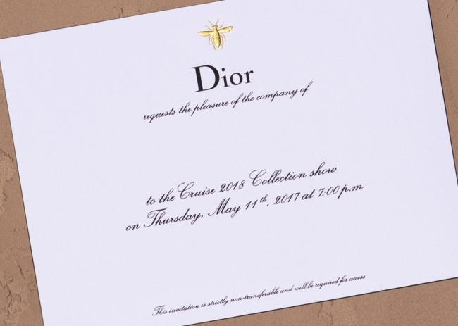 DIOR_CRUISE 2018_ INVITATION ©Sophie Carre