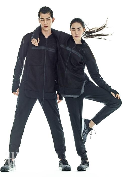 분더샵 청담점에 단독 론칭하는 리버시블 메시 소재의 보머 재킷, 조거 피트 니트 팬츠, 다이내믹한 디자인과 경량성과 유연성을 갖춘 러닝화 퓨젝스 러쉬 (fuzeX RUSH)는 모두 ASICS 제품.