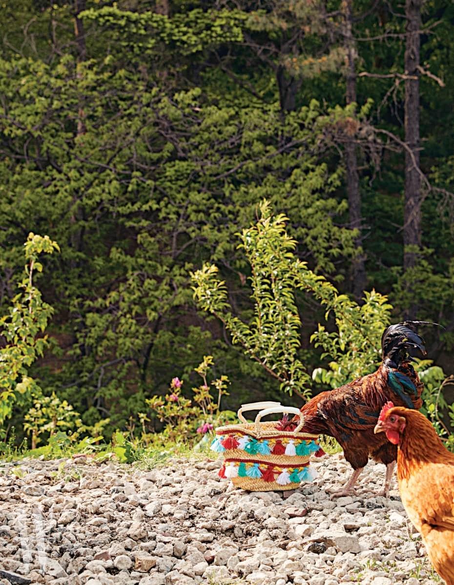 알록달록한 태슬 장식이 이국적인 라피아 가방은 파티마 모로코 by 비이커 제품. 21만5천원.