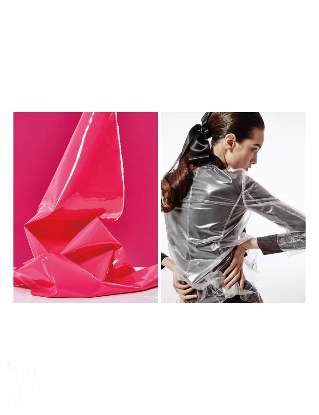 비닐 소재의 테일러드 재킷, 안에 입은 검정 리본 원피스는 Emporio Armani 제품.