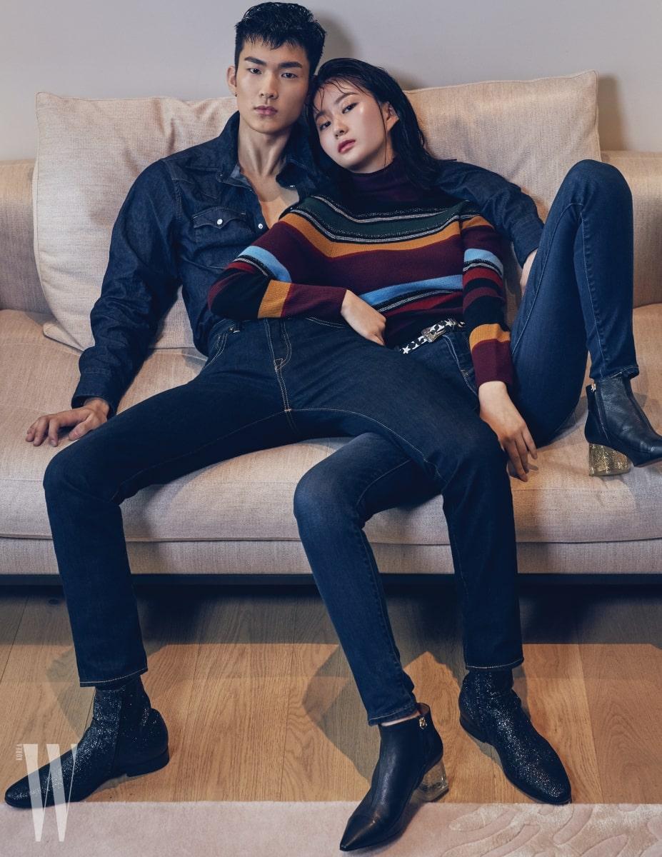 이기현이 입은 웨스턴 셔츠와 501 테이퍼드 진은 Levi's 제품, 앵클부츠는 스타일리스트 소장품. 임정인이 입은 멀티 컬러 줄무늬 니트 스웨터와 721 스키니 진은 Levi's 제품. 벨트와 부츠는 스타일리스트 소장품.
