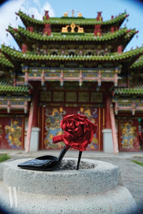 탐스러운 붉은색 코르사주 장식이 화려한 스틸레토 힐은 생로랑 by 안토니 바카렐로 제품. 2백76만5천원.