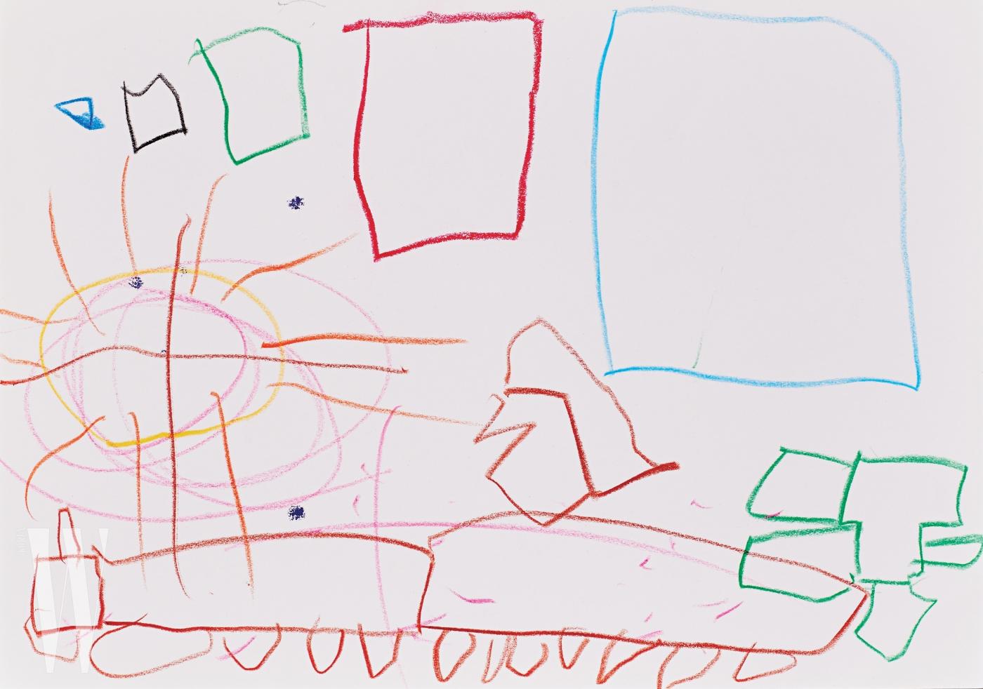 개그맨 이휘재와 플로리스트 문정원의 아들 이서언(5세) 군의 그림. 서언이가 사용한 색이 들어간 퀼팅 스커트를 선택한 뒤 머리에 장식했고, 네모난 도형들은 딱딱하고 각진 포즈로 표현했다.