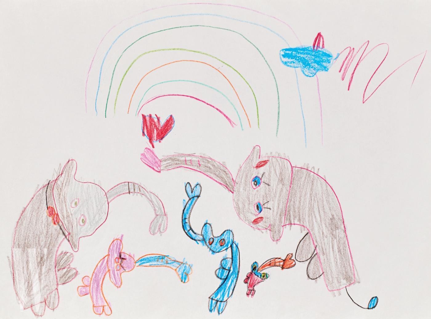 두 마리의 고양이와 무지개가 어우러진 동심 어린 그림은 배우 정시아와 백도빈의 딸, 백서우(6세) 양의 그림. 여자 아이 특유의 귀여운 상상력이 담긴 그림은 모던하고 해학적인 패션 화보로 완성했다.