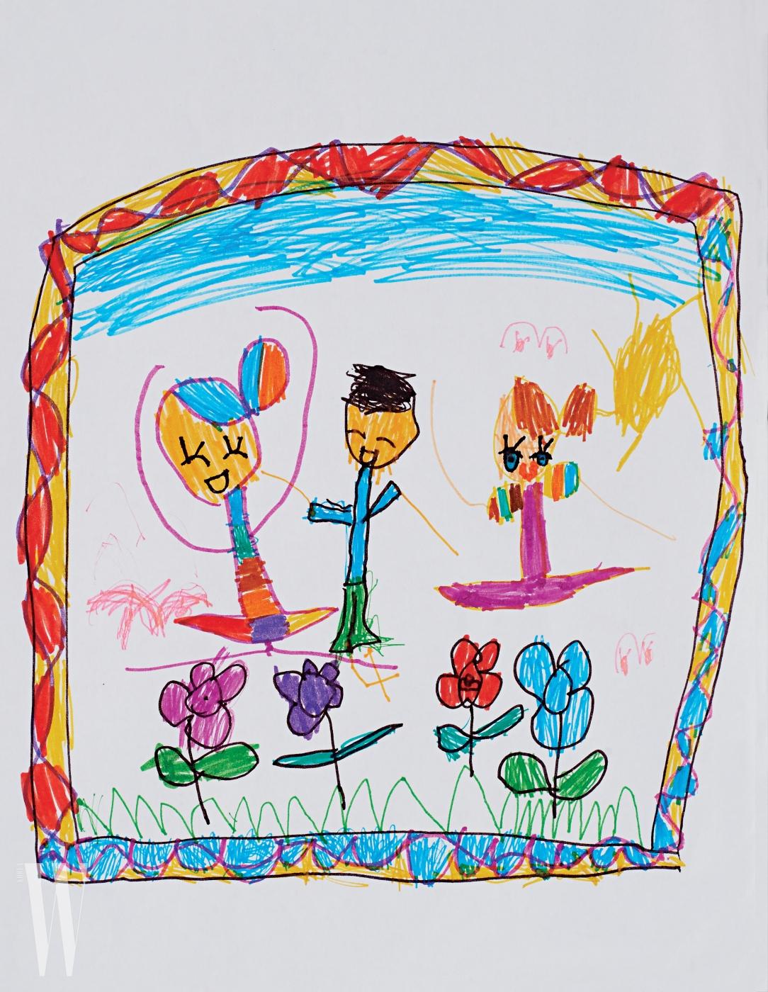 배우 정시아와 백도빈의 딸 백서우(6세) 양의 그림. 아이의 천진한 눈으로 바라본 꽃밭과 친구들이 행복한 느낌을 준다.